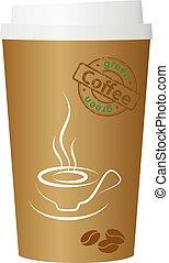 café, vector, ilustración, taza