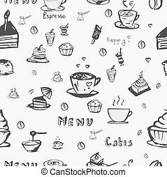 café, vector, seamless, plano de fondo