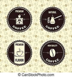 café, vendange, étiquettes