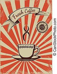 café, vendange, gabarit, affiche