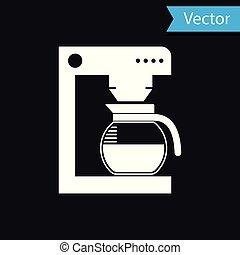 café, verre, pot, isolé, illustration, machine, arrière-plan., vecteur, noir, blanc, icône