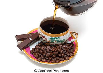 café, versé, tasse