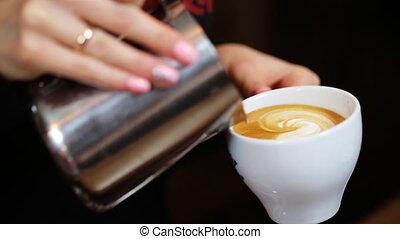 café versant, cappuccino, barista, ou, latte, mains,...