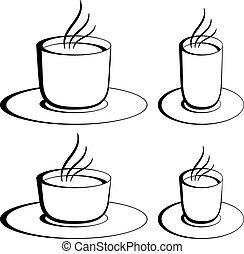 café, vetorial, óculos