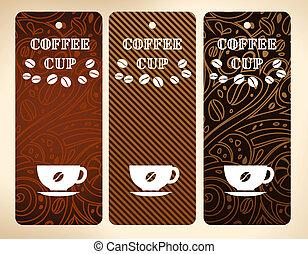 café, vetorial, bandeiras, copo