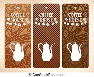 café, vetorial, bandeiras