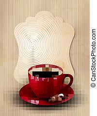 café, vetorial, desenho, template., illustration.
