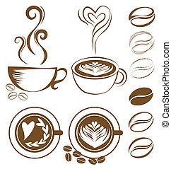 café, vetorial, jogo, copo