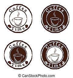 café, vetorial, jogo, selos, tempo