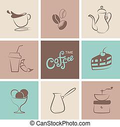 café, vetorial, símbolo, cobrança