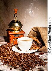 café, vida, com, madeira, moedor, e, copo