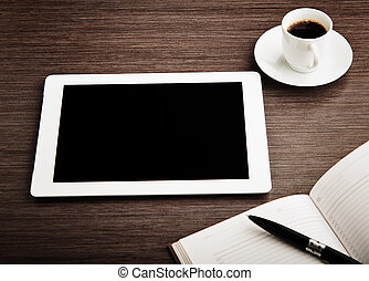 café, vide, tablette, bureau