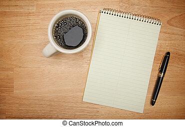 café, vide, tampon, papier