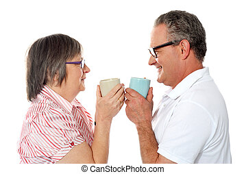 café, vieux, romantique coupler, personne agee, apprécier