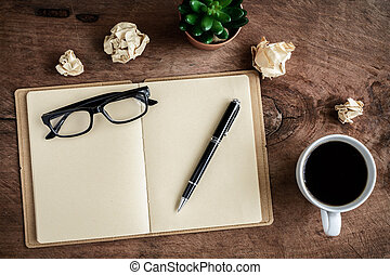café, vieux, tasse, bois, cahier, bureau