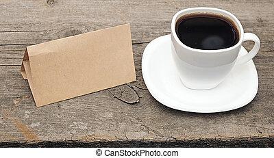 café, vieux, tasse, bois, papier, fond, vide