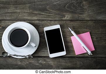 café, vieux, tasse, bois, téléphone, desk.