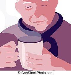 café, vieux, tasse, homme