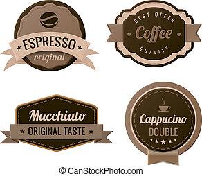 café, vindima, etiquetas