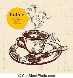 café, vindima, mão, fundo, desenhado