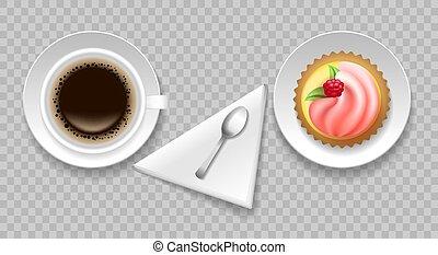 café, vista, tapa de la torta