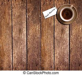 café, vue, tasse, sommet, table