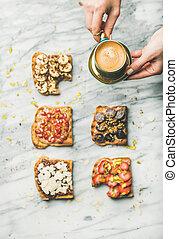 café, wholegrain, saudável, mulher, mãos, pequeno almoço, brindes