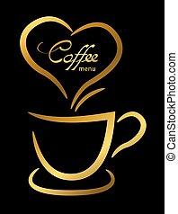 café, xícara ouro, ilustração, fundo, pretas
