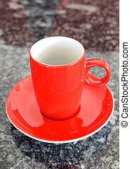 café, xícara vermelha