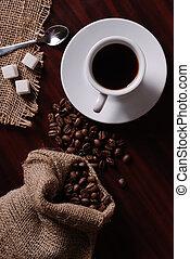 café, y, bolsa arpillera