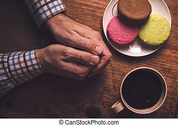 café, y, macaron, galletas