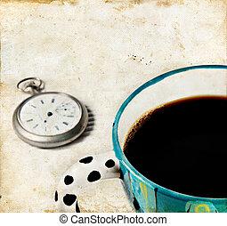 café, y, reloj, en, un, grunge, plano de fondo