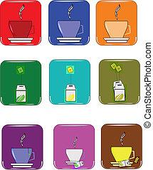 café, y, té, elementos