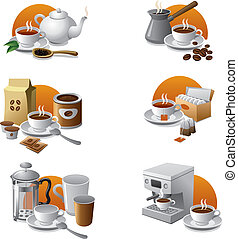 café, y, té, icono, conjunto