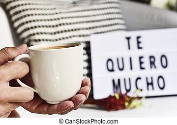 café, y, texto, te amo, tan, mucho, en, español