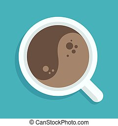café, yang yin, tasse