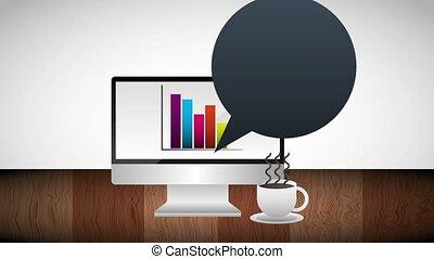 café, zakelijk, kop, grafiek, scherm, computer, statestiek