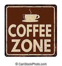 café, zona, vendimia, signo metal
