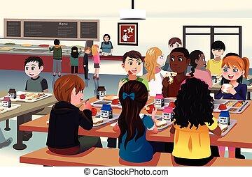 cafétéria, gosses école, manger