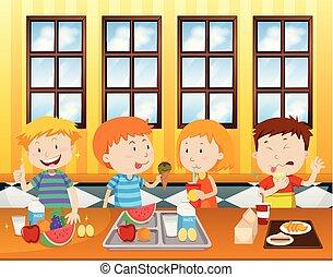cafétéria, manger, enfants