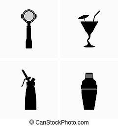 ¿caf?, barra, coctelera, utensilios, cóctel