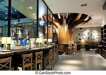 caf?, desenho, loja