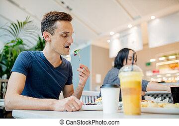 cafe, äta, ung, sallad, man