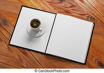 Cafe ad - Top view of open menu book with coffee cup placed...