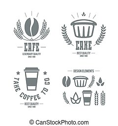 Cafe and cake emblems and icons