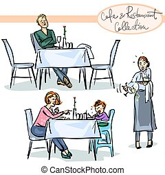Cafe and Restaurant Collection - hand drawn scenes . Set 4