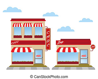 store fronts - cafe and shop store fronts