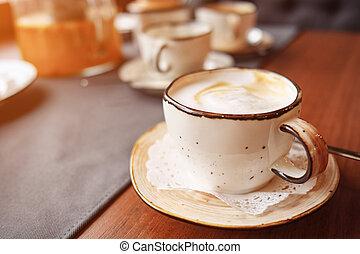 cafe au lait, kunst, tisch, becher