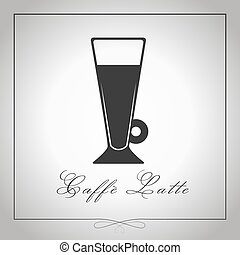 Cafe au lait or Caffe latte silhouette. High glass coffee....