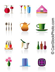 Cafe bar and restaurant icons